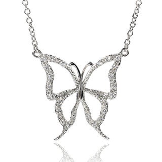 Journee Collection Sterling Silver Cubic Zirconia Butterfly Necklace