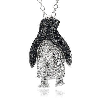 Journee Collection Sterling Silver Black and White Cubic Zirconia Penguin Necklace
