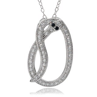 Journee Collection Sterling Silver Black and White Cubic Zirconia Snake Necklace