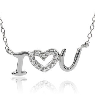 Journee Collection Sterling Silver Cubic Zirconia 'I Love You' Necklace