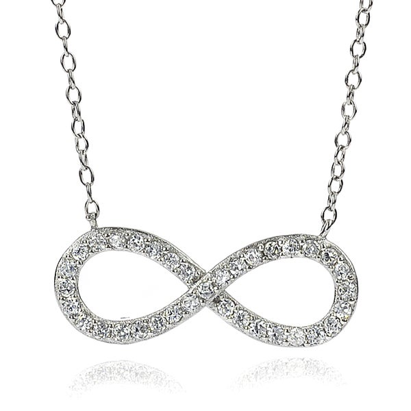 Journee Collection Sterling Silver Cubic Zirconia Infinity Necklace