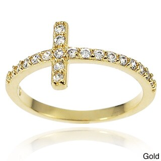 Journee Collection Sterling Silver White Cubic Zirconia Cross Ring