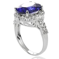 Journee Collection Sterling Silver Cubic Zirconia Halo Engagement Ring
