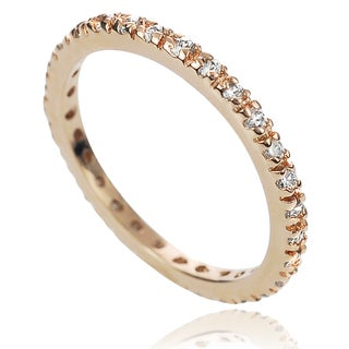 Journee Collection Rose Gold over Silver Cubic Zirconia Eternity Ring