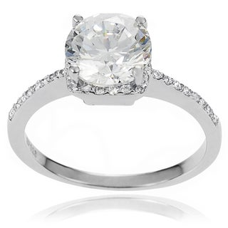 Journee Collection Sterling Silver White Cubic Zirconia Bridal-style Ring