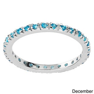 Journee Collection Sterling Silver Colored Cubic Zirconia Eternity Band