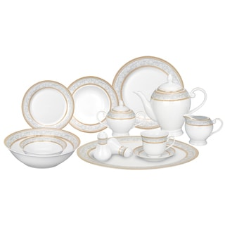 Lorren Home Trends 57-piece Porcelain Dinnerware Set with Gold Accent  sc 1 st  Overstock & Gold Dinnerware | Find Great Kitchen u0026 Dining Deals Shopping at ...