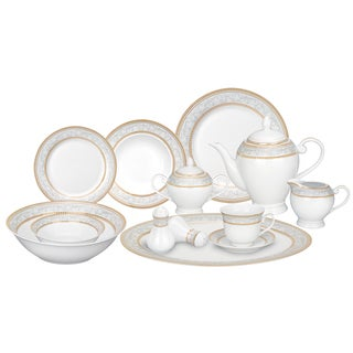 Lorren Home Trends 57-piece Porcelain Dinnerware Set with Gold Accent