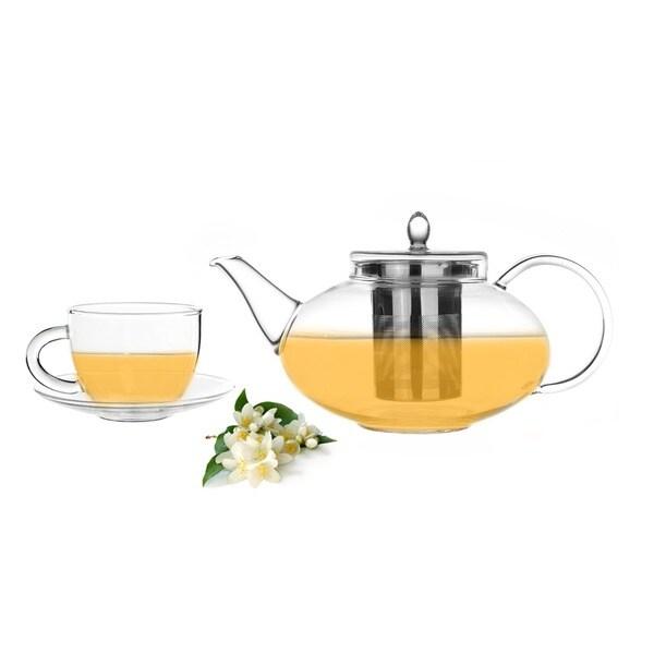 Tea Beyond 42oz/ 1242ml Teapot Harmony with 2 Cup/ Saucer Set and Whole Leaf Jasmine Green Tea (3.5oz/ 100g)