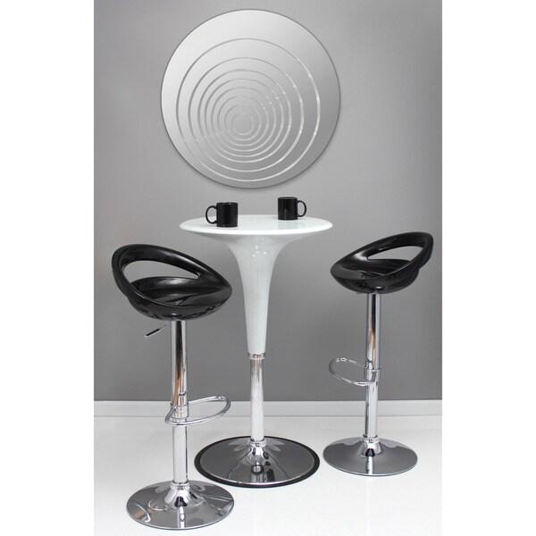 Ripples 31-inch Modern Round Wall Mirror - Silver