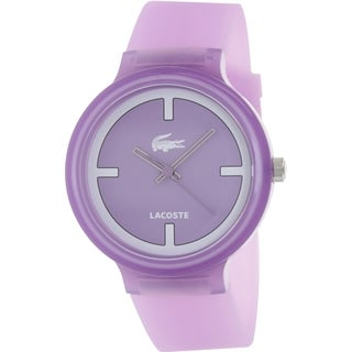 Lacoste Women's Goa 2020026 Pink Silicone Analog Quartz Watch with Purple Dial