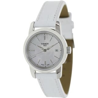 Tissot Women's Dream T033.210.16.111.00 White Leather Swiss Quartz Watch with Mother-Of-Pearl Dial|https://ak1.ostkcdn.com/images/products/8428361/P15725484.jpg?impolicy=medium
