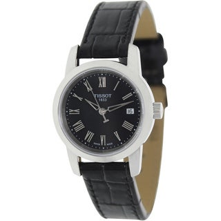 Tissot Women's Dream T033.210.16.053.00 Black Leather Swiss Quartz Watch with Black Dial