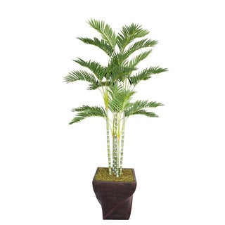 "Laura Ashley 78"" Tall Palm Tree in 17"" Fiberstone Planter"