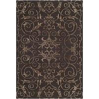 Safavieh Hand-knotted Tibetan Iron Scrolls Chocolate Wool/ Silk Rug - 4' x 6'