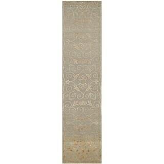 Safavieh Hand-knotted Tibetan Iron Scrolls Slate/ Gold Wool/ Silk Rug (2' 6 x 10')