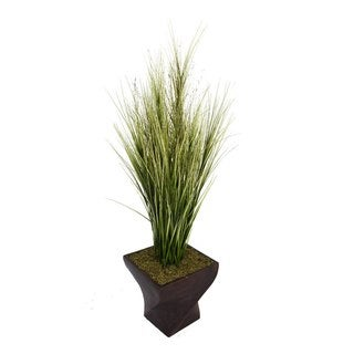 "Laura Ashley 70"" Tall Onion Grass with Twigs in 17"" Fiberstone Planter"