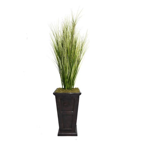 """Vintage Home 79"""" Tall Onion Grass with Twigs in 16"""" Fiberstone Planter"""
