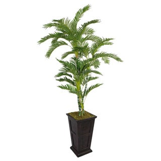 91-inch Tall Twisted Palm Tree in Fiberstone Planter