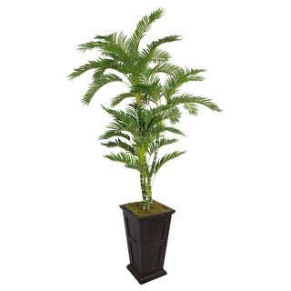 Laura Ashley 91-inch Tall Twisted Palm Tree in Fiberstone Planter