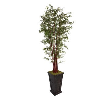 Laura Ashley 111-inch Tall Harvest Bamboo Tree Fiberstone Planter
