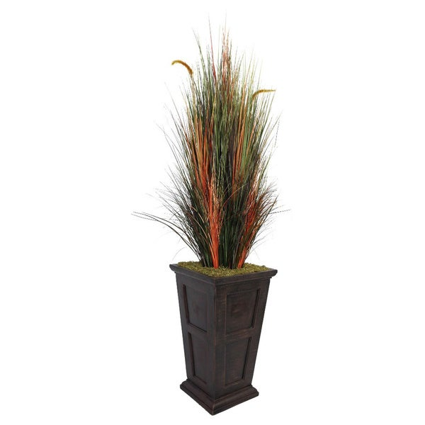 Laura Ashley 79-inch Tall Onion Grass with Cattails Fiberstone Planter
