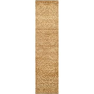Safavieh Hand-knotted Tibetan Iron Scrolls Light Gold Wool/ Silk Rug (2' 6 x 10')