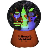 Inflatable Neon Santa and Snowman 72-inch Snow Globe