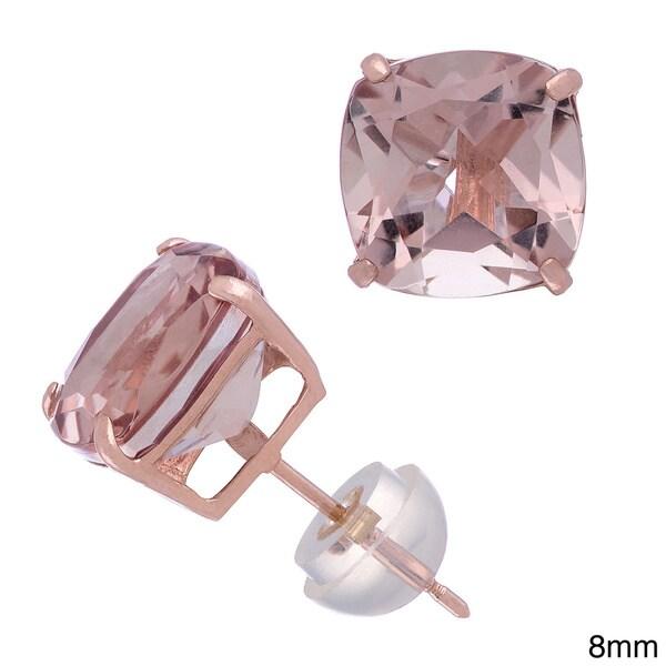 Gioelli 14k Rose Gold Quartz Stud Earrings