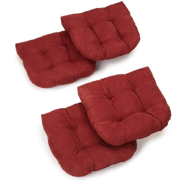 Merveilleux Blazing Needles 19 Inch Tufted Microsuede U Shaped Chair Cushions (Set Of 4