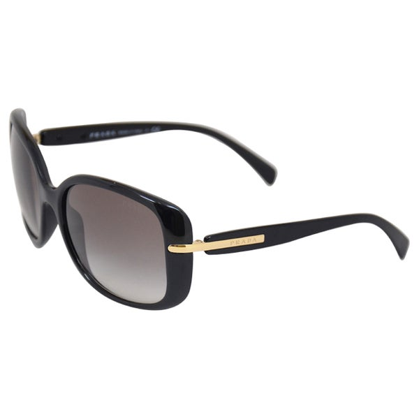 Prada Women's 'PR 08OS 1AB0A7' Black Rectangular Oversize Sunglasses