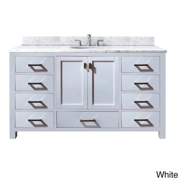 Avanity modero 60 inch single vanity in white finish with sink and top free shipping today 60 in bathroom vanities with single sink
