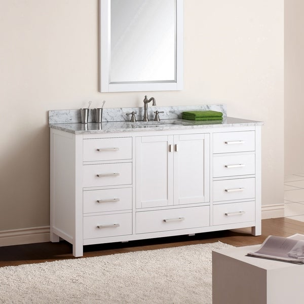 Avanity Modero 61-inch Single Vanity in White Finish with Sink and Top. Opens flyout.