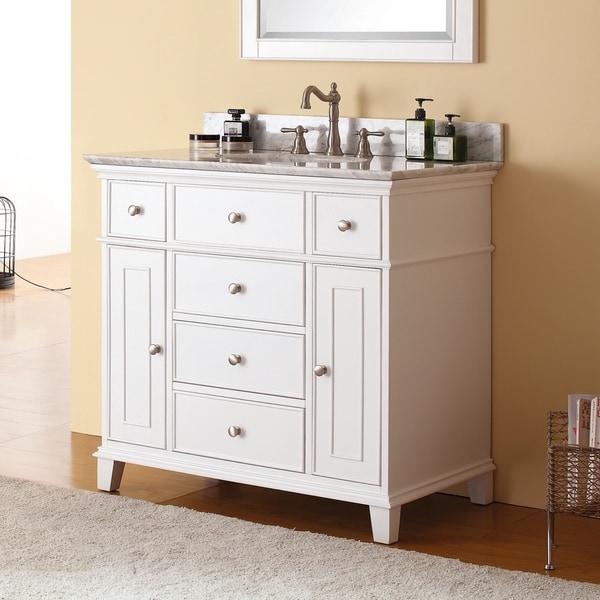 Shop avanity windsor 37 inch single vanity in white with - Reasonably priced bathroom vanities ...