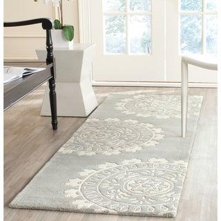 Safavieh Handmade Bella Grey/ Ivory Wool Rug (2'3 x 7')