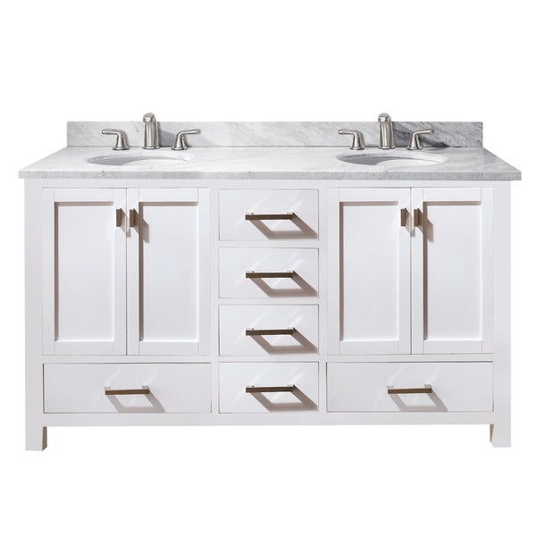 Avanity Modero 60 Inch Double Vanity In White Finish With Dual Sinks And Top