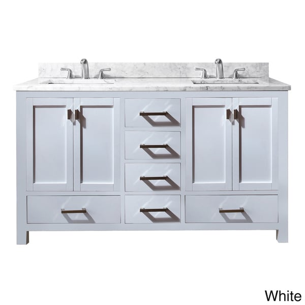 Simple  60 Inch Double Bathroom Vanity In White White Carrera Marble