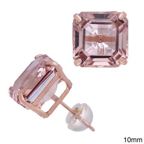 Gioelli 14k Rose Gold Asscher-cut Quartz Stud Earrings