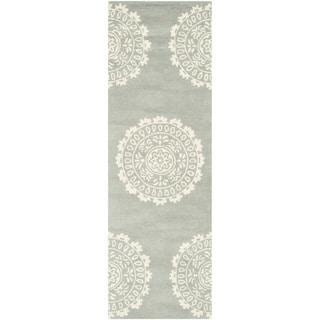 Safavieh Handmade Bella Grey/ Ivory Wool Rug (2'3 x 9')