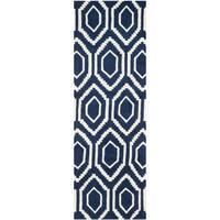 Safavieh Handmade Moroccan Chatham Dark Blue/ Ivory Contemporary Wool Rug - 2'3 x 9'