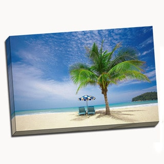 'Secluded Beach Chairs' Canvas Wall Art