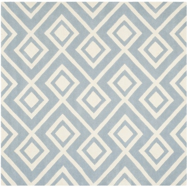 Safavieh Moroccan Blue And Black Area Rug: Safavieh Handmade Moroccan Chatham Blue/ Ivory Wool Area