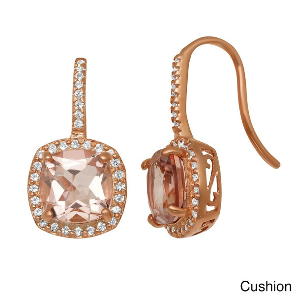 Gioelli Rose Goldplated Silver Quartz and Created Sapphire Earrings