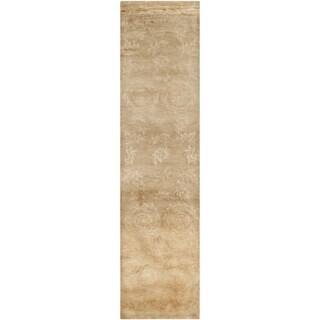 Safavieh Hand-knotted Tibetan Floral Beige Wool/ Silk Rug (2' 6 x 10')