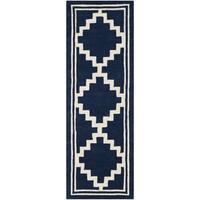 "Safavieh Handmade Moroccan Chatham Navy/ Ivory Wool Rug - 2'3"" x 7'"