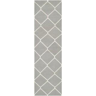 Safavieh Hand-woven Moroccan Reversible Dhurries Grey/ Ivory Wool Rug (2' 6 x 8')