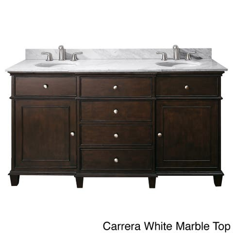 Avanity Windsor 60-inch Double Vanity in Walnut Finish with Dual Sinks and Top