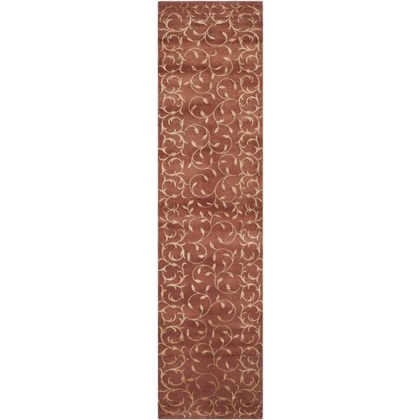 Safavieh Hand-knotted Tibetan Scrolling Vines Rust/ Gold Wool/ Silk Rug - 2'6 x 10'