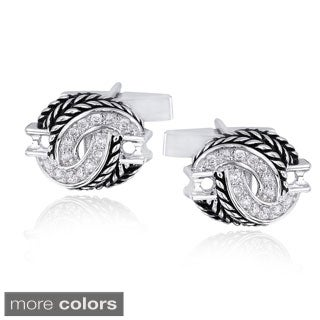 Icz Stonez Rhodium-plated Cubic Zirconia Rope Design Cuff Links