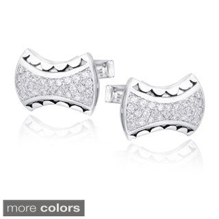 Icz Stonez Rhodium-plated Cubic Zirconia Free-form Cuff Links